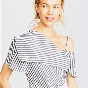 Theory striped Fold Over Top.